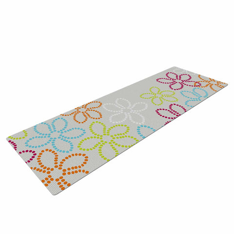 "Julia Grifol ""Dancing Flowers"" Gray Orange Vector Yoga Mat - KESS InHouse  - 1"