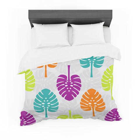 "Julia Grifol ""Tropico"" Gray Green Digital Featherweight Duvet Cover"