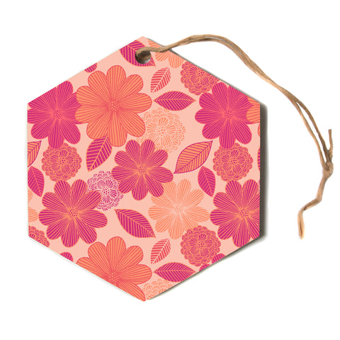 "julia grifol ""Lovely Flowers"" Pastel Magenta Digital Hexagon Holiday Ornament"
