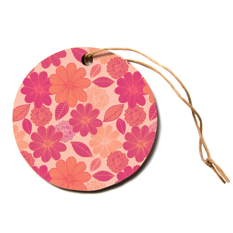 "julia grifol ""Lovely Flowers"" Pastel Magenta Digital Circle Holiday Ornament"