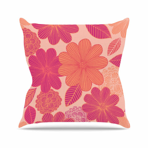 "Julia Grifol ""Lovely Flowers"" Pastel Magenta Digital Outdoor Throw Pillow"