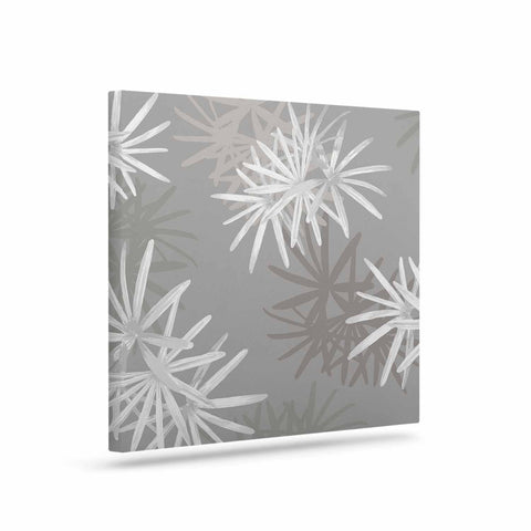 "Julia Grifol ""White Paradise Flowers"" White Gray Digital Art Canvas"