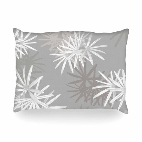 "Julia Grifol ""White Paradise Flowers"" White Gray Digital Oblong Pillow"