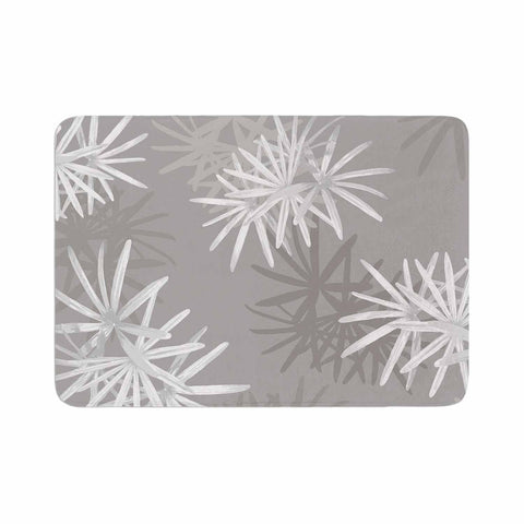 "Julia Grifol ""White Paradise Flowers"" White Gray Digital Memory Foam Bath Mat"