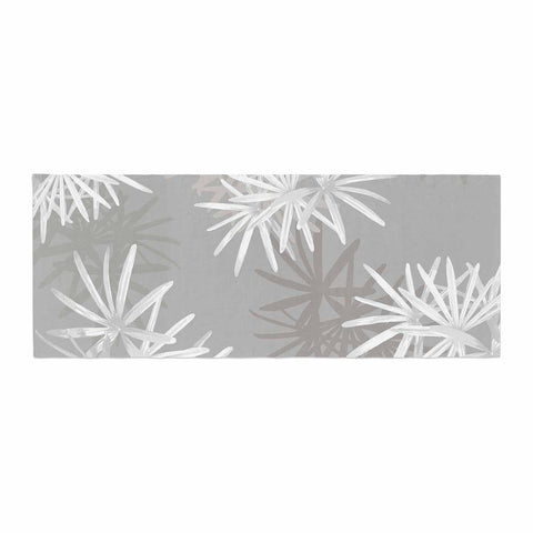 "Julia Grifol ""White Paradise Flowers"" White Gray Digital Bed Runner"