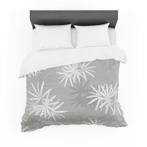 "Julia Grifol ""White Paradise Flowers"" White Gray Digital Featherweight Duvet Cover"