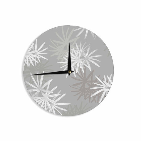 "Julia Grifol ""White Paradise Flowers"" White Gray Digital Wall Clock"