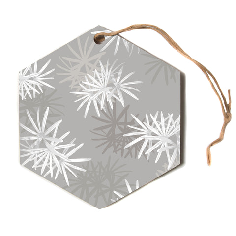 "julia grifol ""White Paradise Flowers"" White Gray Digital Hexagon Holiday Ornament"