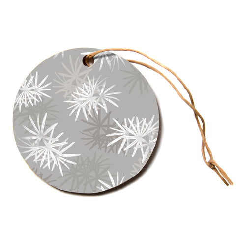 "julia grifol ""White Paradise Flowers"" White Gray Digital Circle Holiday Ornament"