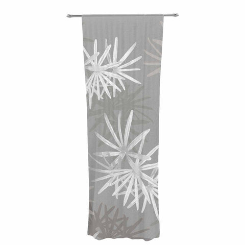 "Julia Grifol ""White Paradise Flowers"" White Gray Digital Decorative Sheer Curtain"
