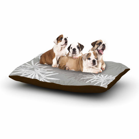 "Julia Grifol ""White Paradise Flowers"" White Gray Digital Dog Bed"