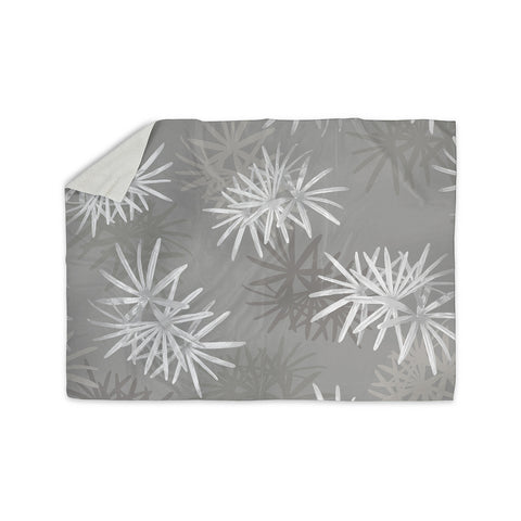 "Julia Grifol ""White Paradise Flowers"" White Gray Digital Sherpa Blanket"