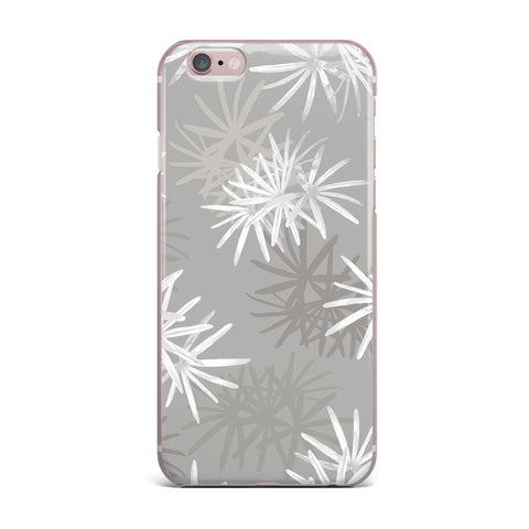 "Julia Grifol ""White Paradise Flowers"" White Gray Digital iPhone Case"