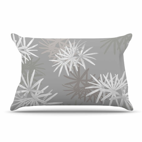 "Julia Grifol ""White Paradise Flowers"" White Gray Digital Pillow Sham"