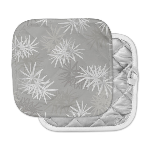 "Julia Grifol ""White Paradise Flowers"" White Gray Digital Pot Holder"