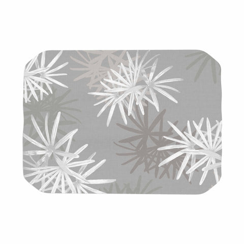 "Julia Grifol ""White Paradise Flowers"" White Gray Digital Place Mat"