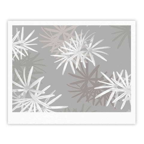 "Julia Grifol ""White Paradise Flowers"" White Gray Digital Fine Art Gallery Print"