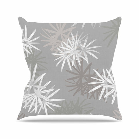 "Julia Grifol ""White Paradise Flowers"" White Gray Digital Outdoor Throw Pillow"