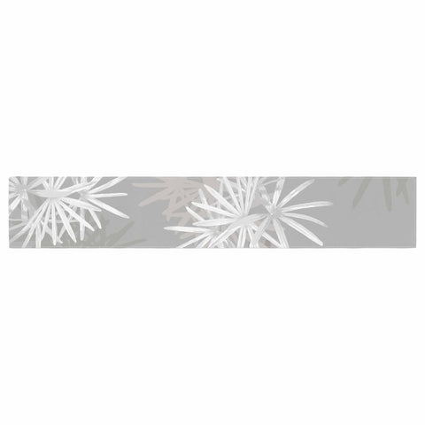 "Julia Grifol ""White Paradise Flowers"" White Gray Digital Table Runner"