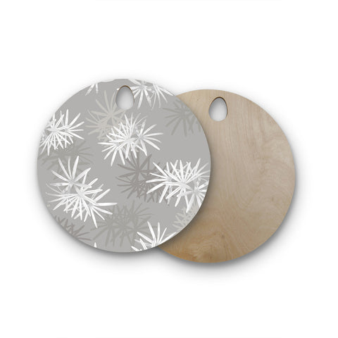 "Julia Grifol ""White Paradise Flowers"" White Gray Digital Round Wooden Cutting Board"