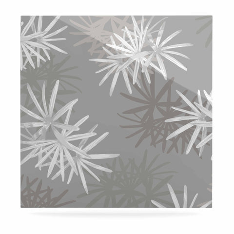 "Julia Grifol ""White Paradise Flowers"" White Gray Digital Luxe Square Panel"