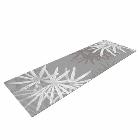 "Julia Grifol ""White Paradise Flowers"" White Gray Digital Yoga Mat"