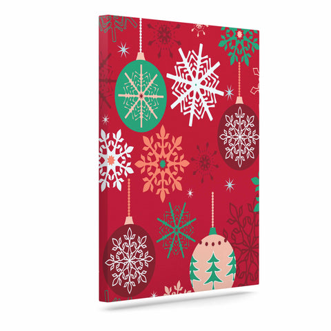 "julia grifol ""Christmas Balls"" Red Green Pattern Holiday Vector Art Canvas"
