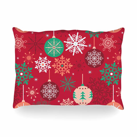 "julia grifol ""Christmas Balls"" Red Green Pattern Holiday Vector Oblong Pillow"