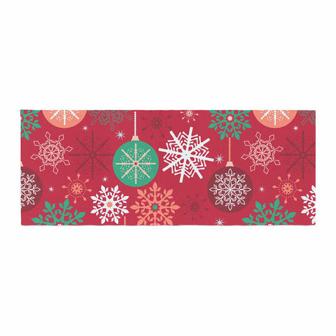 "julia grifol ""Christmas Balls"" Red Green Pattern Holiday Vector Bed Runner"