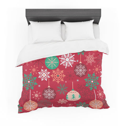 "julia grifol ""Christmas Balls"" Red Green Pattern Holiday Vector Featherweight Duvet Cover"