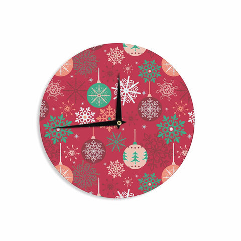 "julia grifol ""Christmas Balls"" Red Green Pattern Holiday Vector Wall Clock"