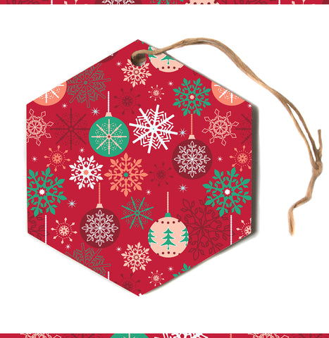 "julia grifol ""Christmas Balls"" Red Green Pattern Holiday Vector Hexagon Holiday Ornament"