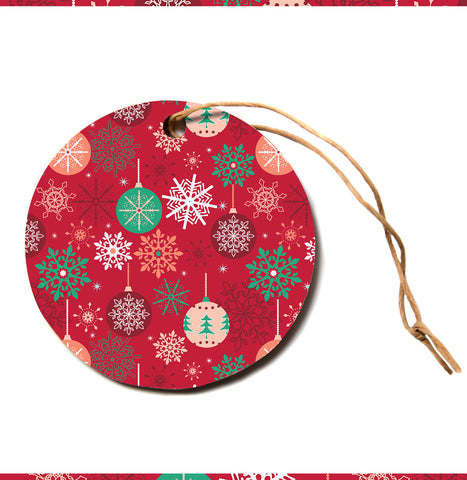 "julia grifol ""Christmas Balls"" Red Green Pattern Holiday Vector Circle Holiday Ornament"