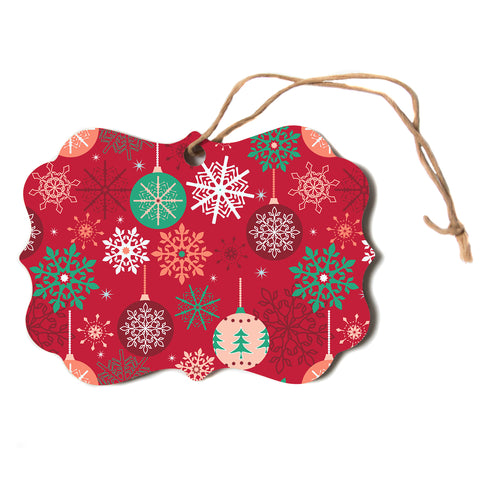 "julia grifol ""Christmas Balls"" Red Green Pattern Holiday Vector Scroll Holiday Ornament"