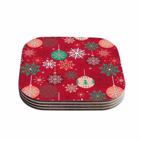 "julia grifol ""Christmas Balls"" Red Green Pattern Holiday Vector Coasters (Set of 4)"