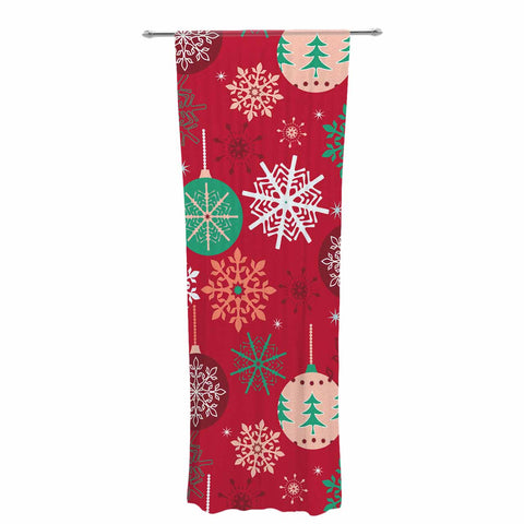 "julia grifol ""Christmas Balls"" Red Green Pattern Holiday Vector Decorative Sheer Curtain"