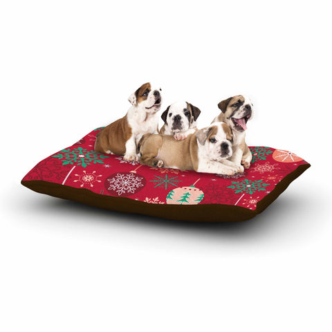 "julia grifol ""Christmas Balls"" Red Green Pattern Holiday Vector Dog Bed"