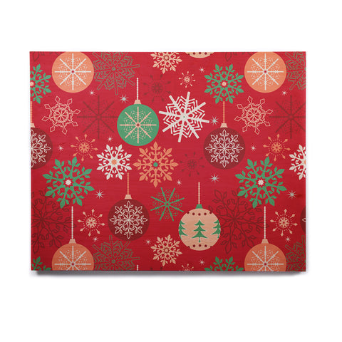 "julia grifol ""Christmas Balls"" Red Green Pattern Holiday Vector Birchwood Wall Art"