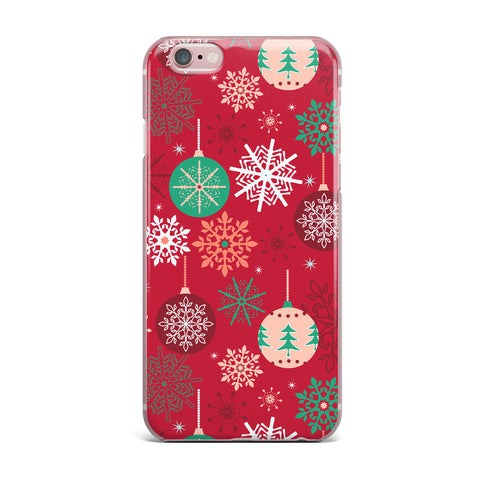 "julia grifol ""Christmas Balls"" Red Green Pattern Holiday Vector iPhone Case"