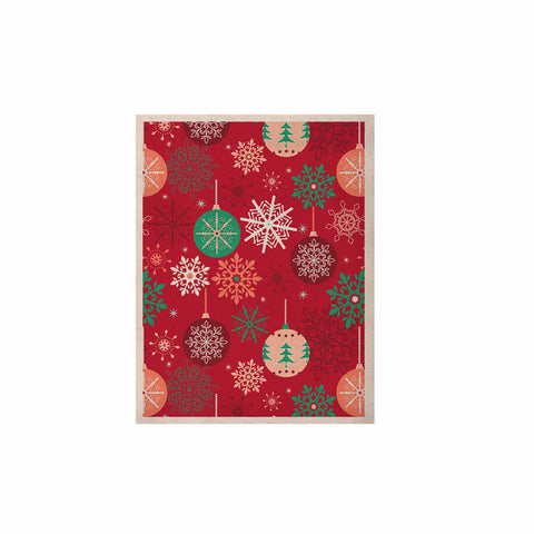 "julia grifol ""Christmas Balls"" Red Green Pattern Holiday Vector KESS Naturals Canvas (Frame not Included)"