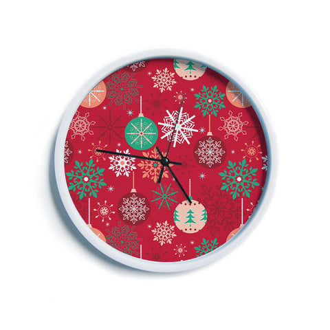 "julia grifol ""Christmas Balls"" Red Green Pattern Holiday Vector Modern Wall Clock"
