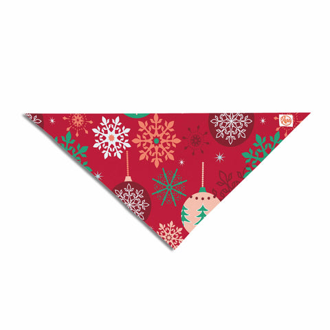 "Julia Grifol ""Christmas Balls"" Red Green Pattern Holiday Vector Pet Bandana - Outlet Item"
