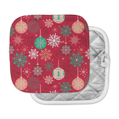 "julia grifol ""Christmas Balls"" Red Green Pattern Holiday Vector Pot Holder"