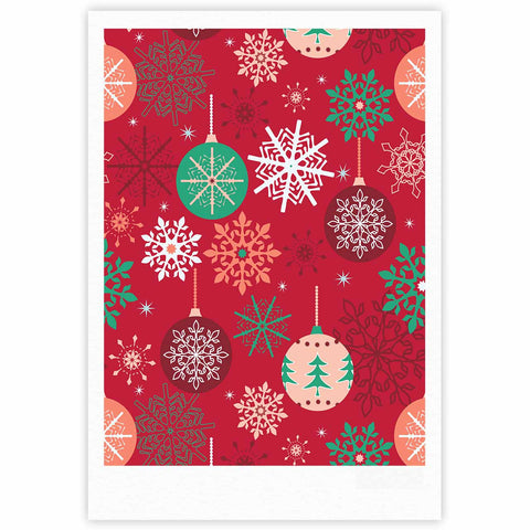 "julia grifol ""Christmas Balls"" Red Green Pattern Holiday Vector Fine Art Gallery Print"
