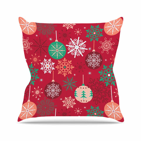 "julia grifol ""Christmas Balls"" Red Green Pattern Holiday Vector Outdoor Throw Pillow"