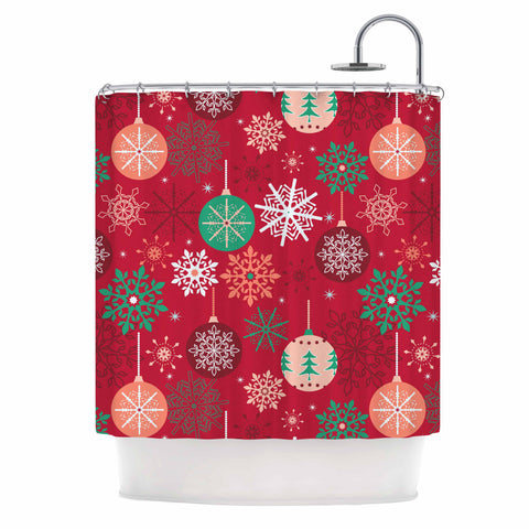 "julia grifol ""Christmas Balls"" Red Green Pattern Holiday Vector Shower Curtain"