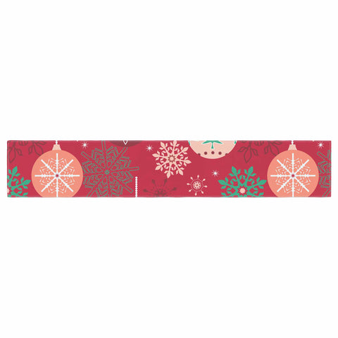 "julia grifol ""Christmas Balls"" Red Green Pattern Holiday Vector Table Runner"