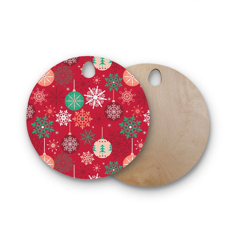 "julia grifol ""Christmas Balls"" Red Green Pattern Holiday Vector Round Wooden Cutting Board"