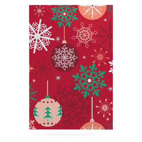 "julia grifol ""Christmas Balls"" Red Green Pattern Holiday Vector Luxe Rectangle Panel"
