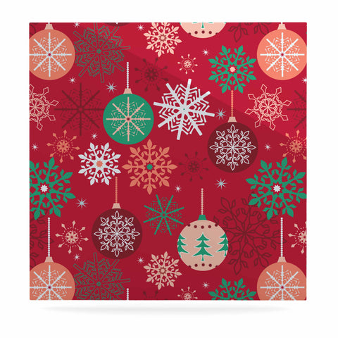 "julia grifol ""Christmas Balls"" Red Green Pattern Holiday Vector Luxe Square Panel"